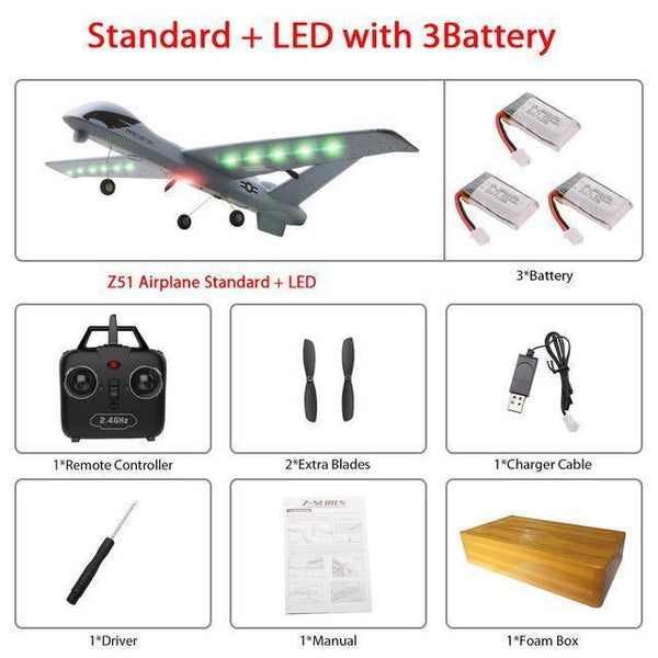 Remote Controlled Airplane Plane (20 Minutes Flight Time)-Toy-Z51-Led 3B foam box-Khadiza Electricals