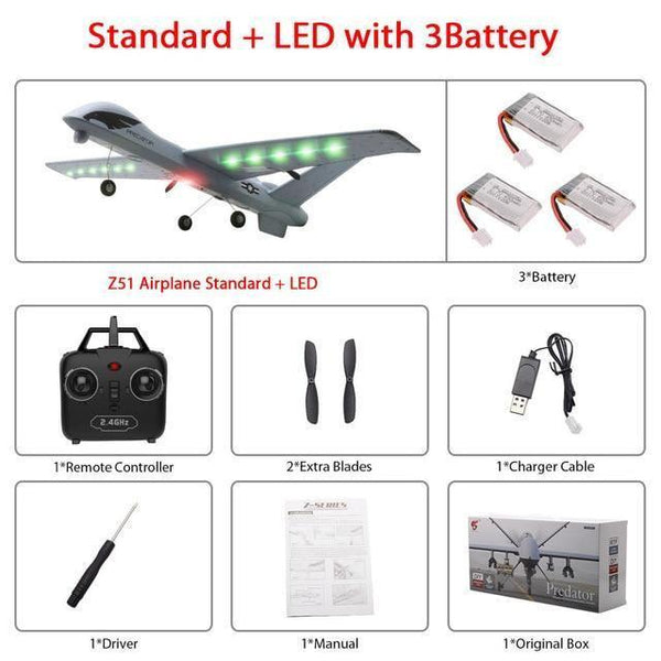Remote Controlled Airplane Plane (20 Minutes Flight Time)-Toy-Z51-Led 3B color box-Khadiza Electricals