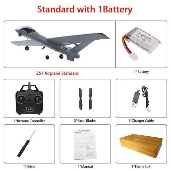 Remote Controlled Airplane Plane (20 Minutes Flight Time)-Toy-Z51 1B foam box-Khadiza Electricals