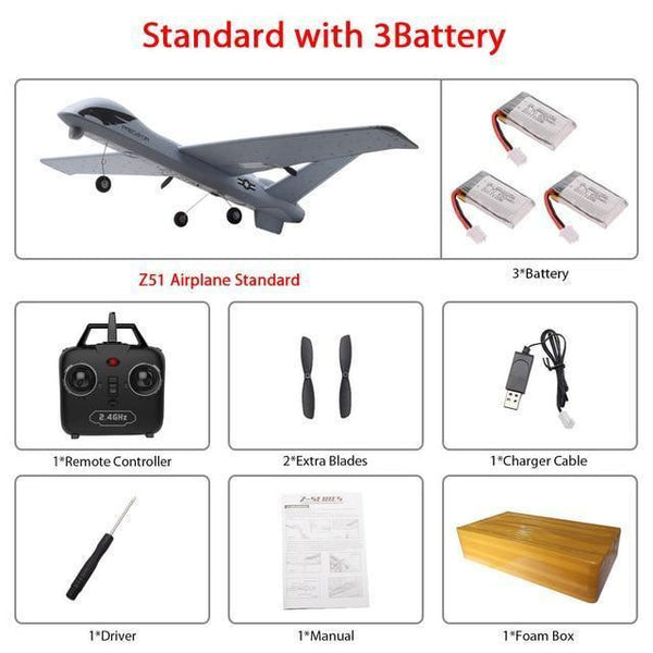Remote Controlled Airplane Plane (20 Minutes Flight Time)-Toy-Z51 3B foam box-Khadiza Electricals