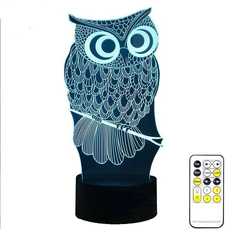 Owl Night Lamp With Touch Switch(3D Hologram Illusion) 3 Colors Touch Owl / China