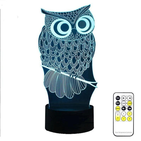 Owl Night Lamp With Touch Switch(3D Hologram Illusion)-Decorative Night Lamp-[variant_title]-Khadiza Electricals