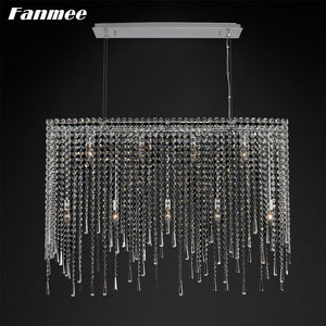 Vintage  Crystal Chain Chandelier Light Chrome Metal Frame / L100xW25xH50cm / Warm White - 3000K