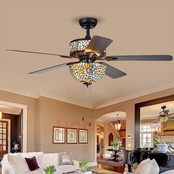 Glass Ceiling Fan with Remote Control  (52 Inch, 110V/ 220V)