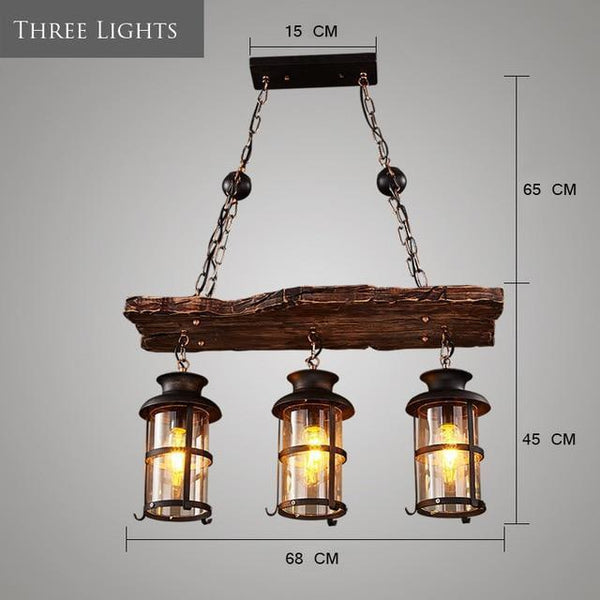 Old Retro Boat Wood led Pendant Lamp-Decorative Pendant Lamp-Three  Lights / Incandescent Bulb-Khadiza Electricals