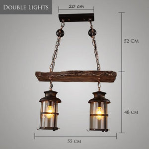 Old Retro Boat Wood led Pendant Lamp-Decorative Pendant Lamp-Double Lights / Incandescent Bulb-Khadiza Electricals