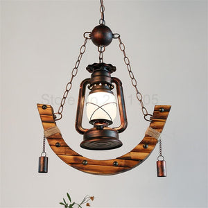 Antic Pendant Kerosene Lamp made of Iron and Bamboo(Bulb Included) Shown as the picture