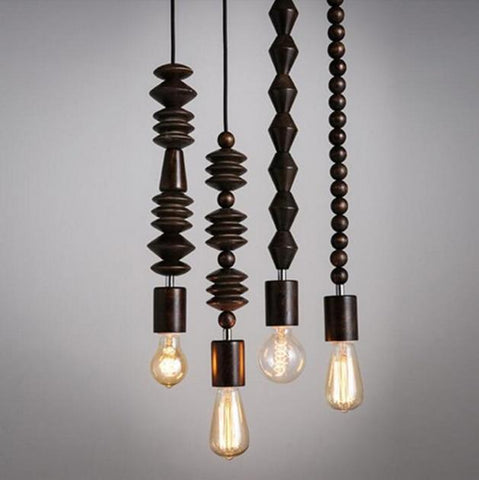 Retro style Oak Wood Pendant Lamp(Bulb Excluded)