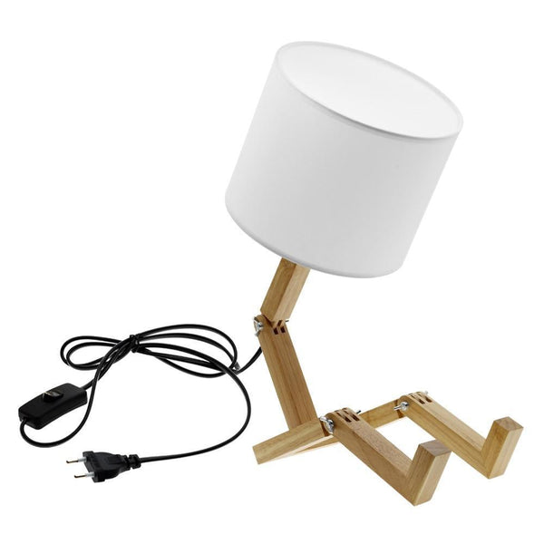 Robot Shaped Wooden Table Lamp-Decorative Table Lamp-[variant_title]-Khadiza Electricals