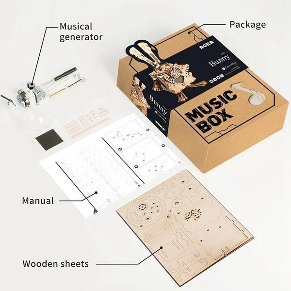 DIY Puzzle Game: Wooden Steampunk Rabbit Assembly with Music Box-Toy-[variant_title]-Khadiza Electricals