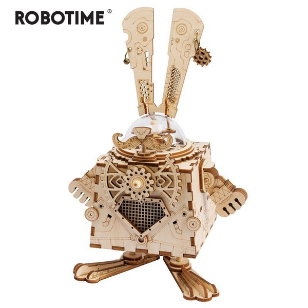DIY Puzzle Game: Wooden Steampunk Rabbit Assembly with Music Box