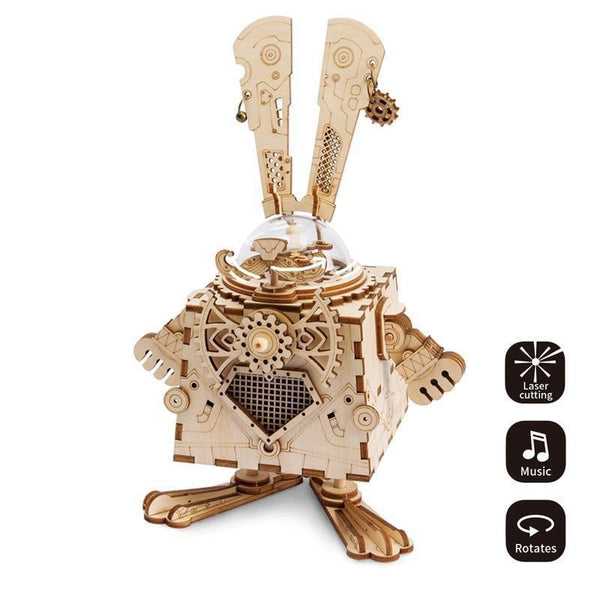 DIY Puzzle Game: Wooden Steampunk Rabbit Assembly with Music Box-Toy-China-Khadiza Electricals