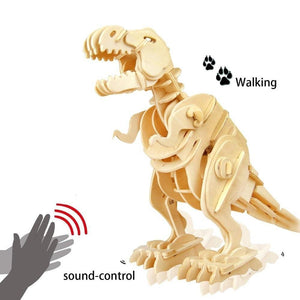 DIY Puzzle Game: Sound Control Walking Wooden T-rex-Toy-[variant_title]-Khadiza Electricals