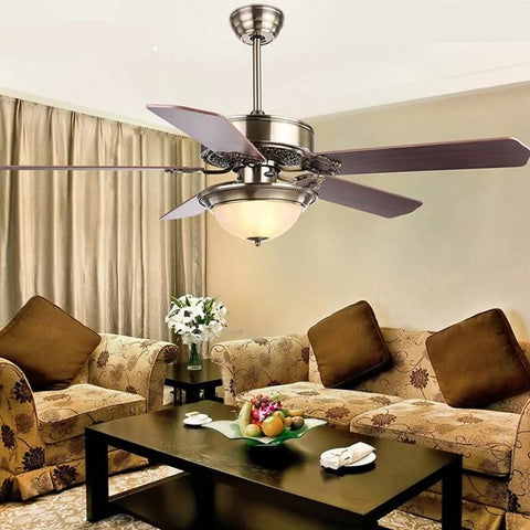 Wooden Blade Ceiling Fan with Crystal LED Glass Lampshade (Bulbs Included) wood blade D122cm / warm light