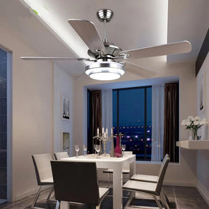 Modern Silvery Bronze Ceiling Fans with LED Lights (Bulbs Included) silver D132cm