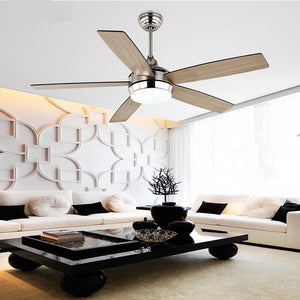 Vintage Wooden Ceiling Fan with Remote Control & Decorative Lights