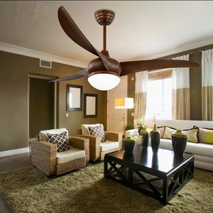 Wooden Ceiling Fan with Light & Remote Control( Bulbs Included)