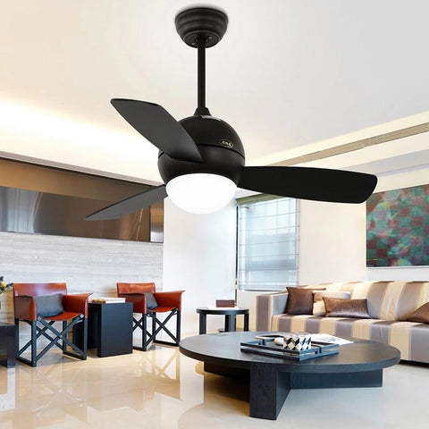 Wooden Ceiling Fan with LED Lamp (Bulbs Included) Black / D81cm / warm light