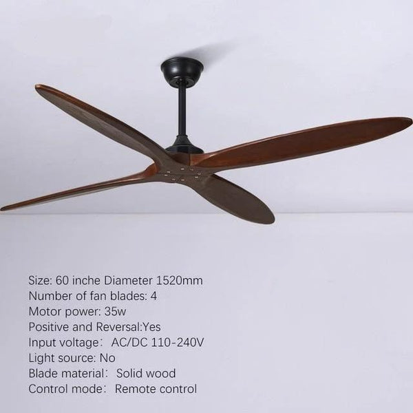 Wooden Ceiling Fan with Remote Control-Decorative Fan-4 blade brown / DC110V-240V-Khadiza Electricals
