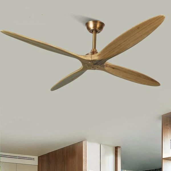 Wooden Ceiling Fan with Remote Control-Decorative Fan-4 blade bronze / DC110V-240V-Khadiza Electricals