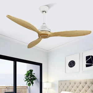 Wooden Ceiling Fan with/without Lights White / Without light / DC 110V-240V