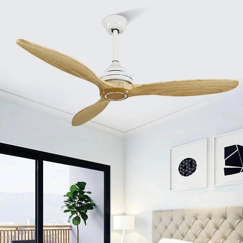 Wooden Ceiling Fan with/without Lights-Decorative Fan-White / Without light / DC 110V-240V-Khadiza Electricals