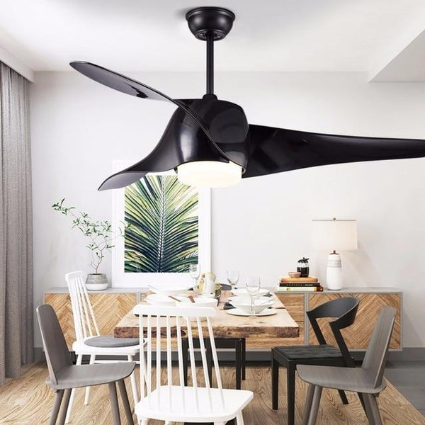 Vintage Wooden Ceiling Fan with Remote Control( Bulbs Included)-Decorative Fan-Black / With light / 110-240V-Khadiza Electricals