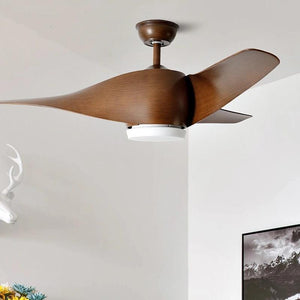 Vintage Wooden Ceiling Fan with Remote Control( Bulbs Included)