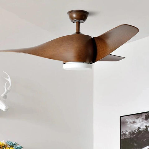 Vintage Wooden Ceiling Fan with Remote Control( Bulbs Included)-Decorative Fan-Brown / With light / 110-240V-Khadiza Electricals