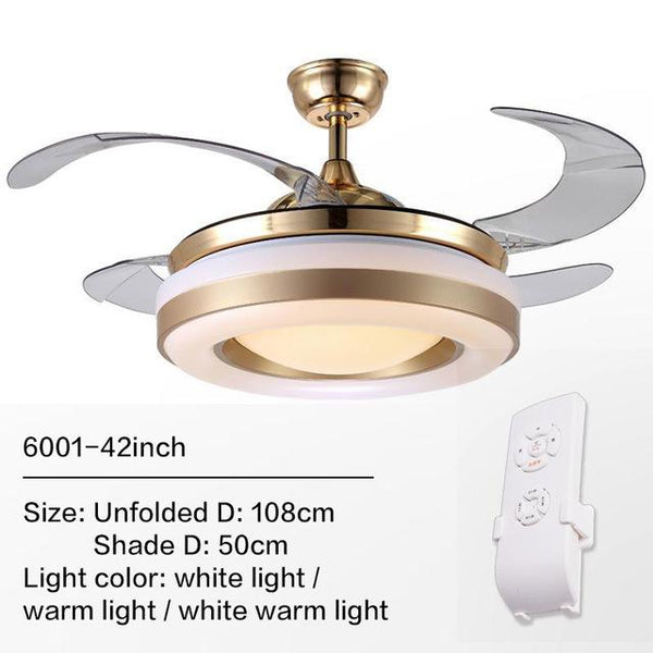 Remote Controlled Fan With Folding & Retractable Blades Attached with LED Light Fixture (Bulbs Included)-Decorative Fan-6001 / 220V-Khadiza Electricals