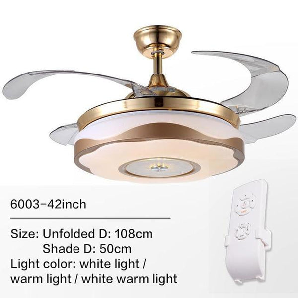 Remote Controlled Fan With Folding & Retractable Blades Attached with LED Light Fixture (Bulbs Included)-Decorative Fan-6003 / 220V-Khadiza Electricals