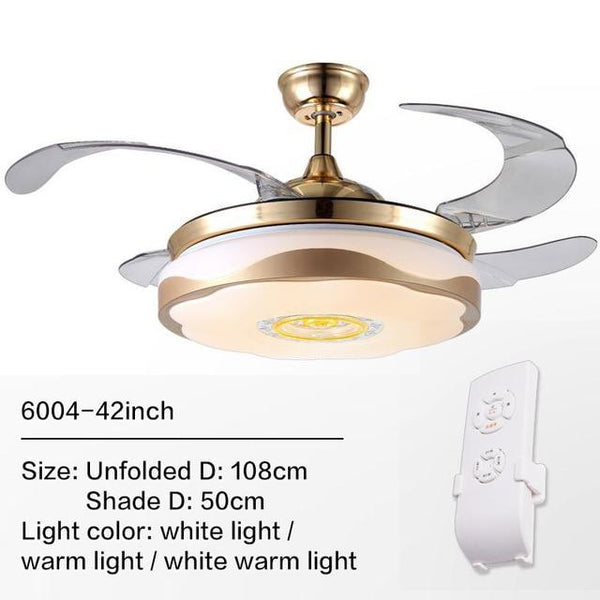 Remote Controlled Fan With Folding & Retractable Blades Attached with LED Light Fixture (Bulbs Included)-Decorative Fan-6004 / 220V-Khadiza Electricals