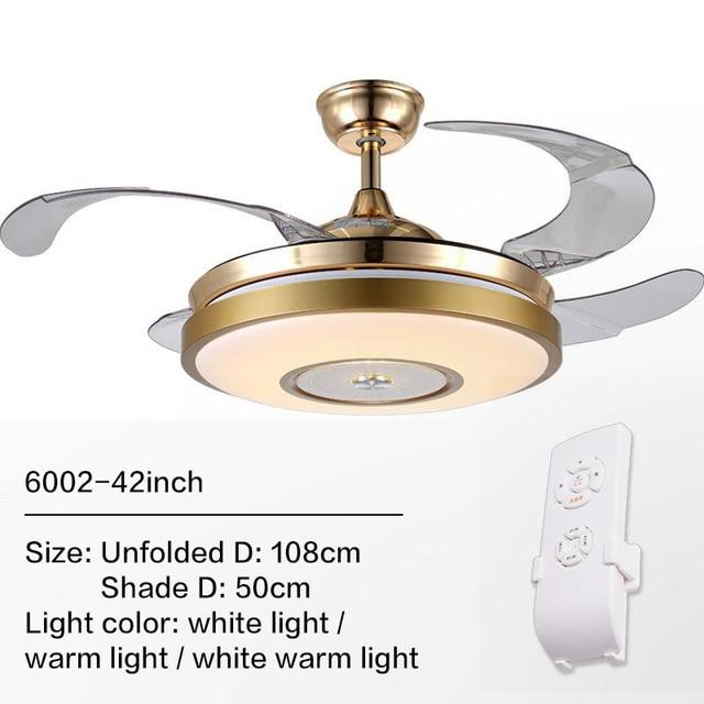 Remote Controlled Fan With Folding & Retractable Blades Attached with LED Light Fixture (Bulbs Included)-Decorative Fan-6002 / 110V-Khadiza Electricals