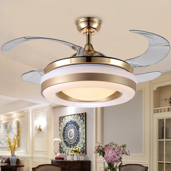 Remote Controlled Fan With Folding & Retractable Blades Attached with LED Light Fixture (Bulbs Included)-Decorative Fan-[variant_title]-Khadiza Electricals