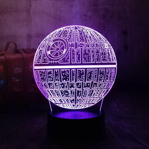 3D Death Star LED Night Light (7 Color Changing)-Decorative Night Lamp-[variant_title]-Khadiza Electricals