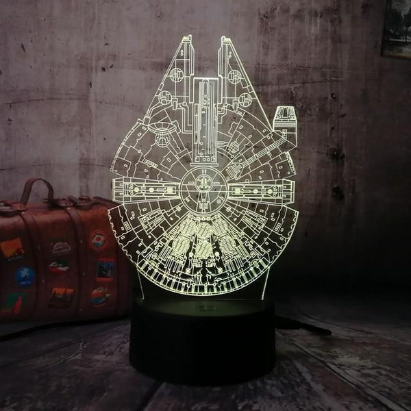 3D Millennium Falcon LED Night Light (7 Color Changing)-Decorative Night Lamp-China 3 / Millennium Falcon / China-Khadiza Electricals