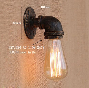 Vintage Retro Wall Lamps With Iron Water Pipe Look