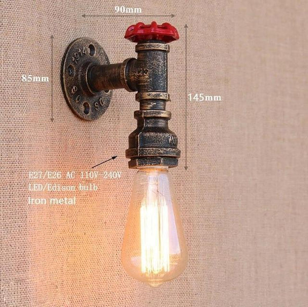 Vintage Retro Wall Lamps With Iron Water Pipe Look-Decorative Wall Lamp-[variant_title]-Khadiza Electricals