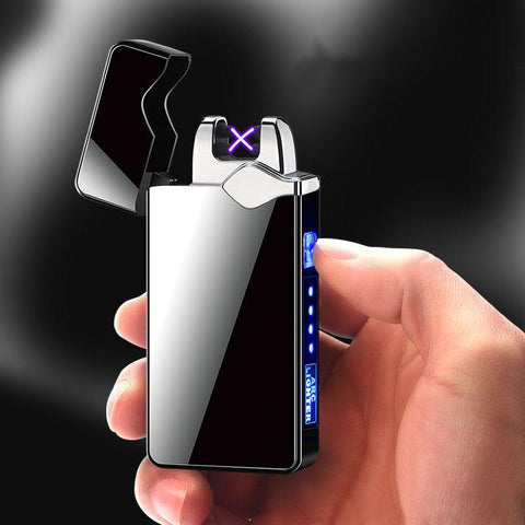 Windproof Dual Arc Electronic Lighter with USB Recharge and Metal Body