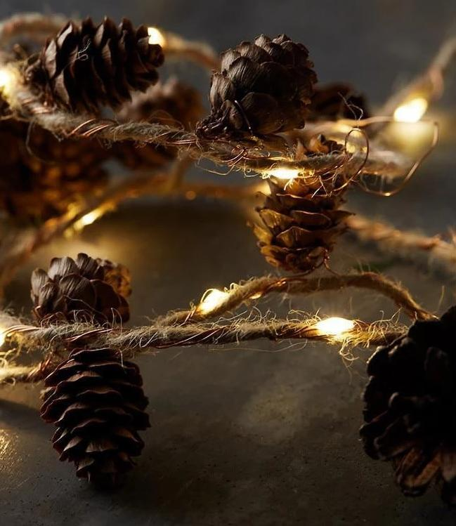 Twine&Cones Copper LED string Garland lights for Christmas Holiday Tree and Home Decoration-Decorative String Light-Yellow / China / 500CM 50Lights-Khadiza Electricals