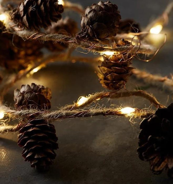 Twine&Cones Copper LED string Garland lights for Christmas Holiday Tree and Home Decoration-Decorative String Light-Warm White / China / 500CM 50Lights-Khadiza Electricals
