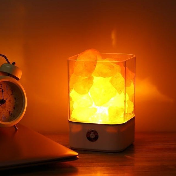 Natural Himalayan Salt Lamp-Decorative Night Lamp-white base / China-Khadiza Electricals