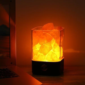 Natural Himalayan Salt Lamp-Decorative Night Lamp-Black base / China-Khadiza Electricals