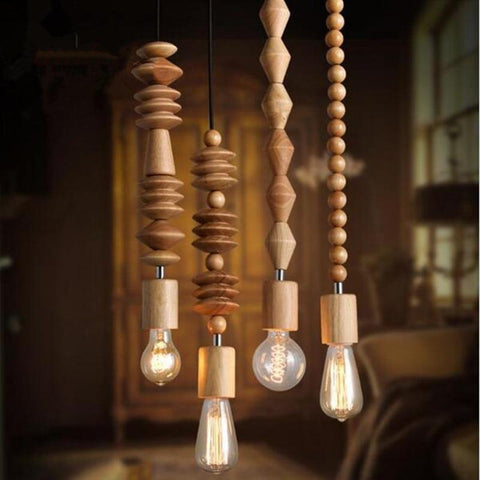 Vintage Retro Oak Wood Pendant Lamp(Bulb Excluded)