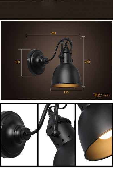 Vintage Iron 360 Degree Rotation Adjustable Wall Lamp