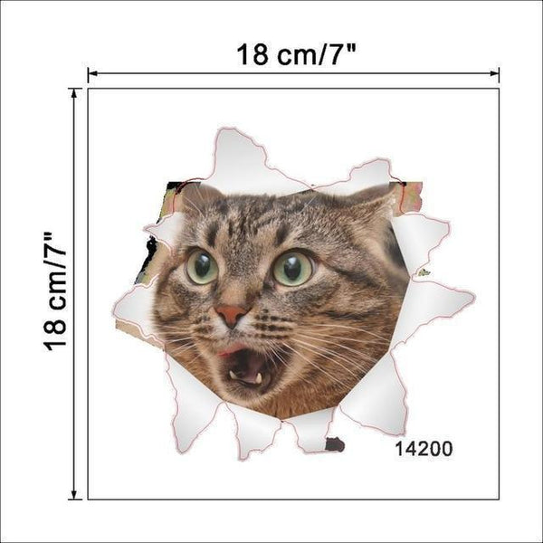 Cat & Dog 3D Wall Sticker-Non Electric Home Decor-12-Khadiza Electricals