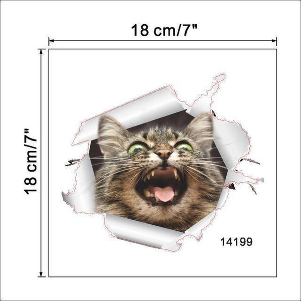 Cat & Dog 3D Wall Sticker-Non Electric Home Decor-11-Khadiza Electricals