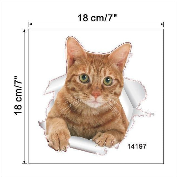 Cat & Dog 3D Wall Sticker-Non Electric Home Decor-9-Khadiza Electricals