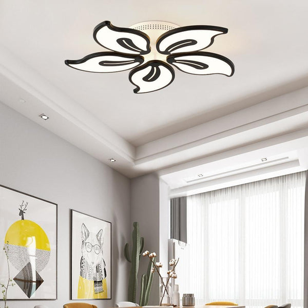 Acrylic White Modern LED Chandelier-Decorative Chandelier-Black / 5 heads / Warm white no remote-Khadiza Electricals