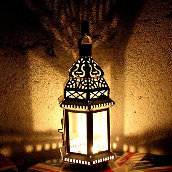 White Metal Hollow Lantern Candle Holder for Home Decoration